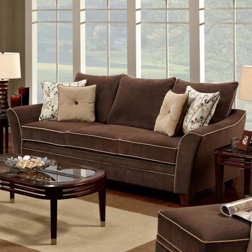 Franklin 811 Bridgeport 3-Seat Stationary Sofa with Flared Arms