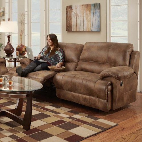 Franklin Caswell Double Reclining Two Seat Sofa with Casual Style
