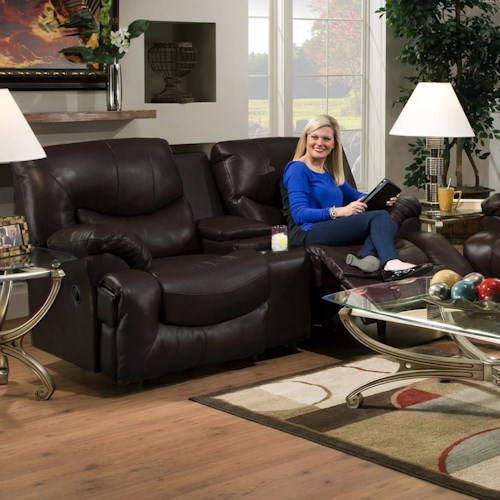 Franklin Challenger Reclining Console Loveseat with Cup Holders
