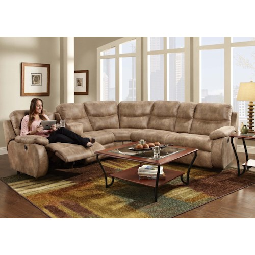 Franklin Eclipse Collection 499 Reclining Sectional Sofa with 2 Recline Seats and Cup-Holders