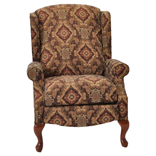 Franklin High and Low Leg Recliners  Sophie Traditional Styled Wing Recliner with Cabriole Legs