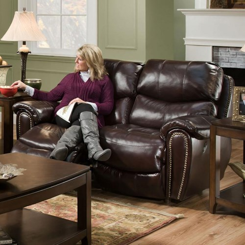 Franklin Richmond Reclining Loveseat with Nail Head Trim