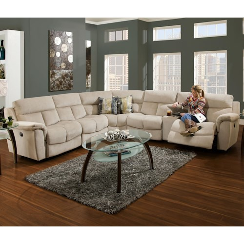 Franklin Stallion Sectional Sofa with 5 Seats (4 that Recline)