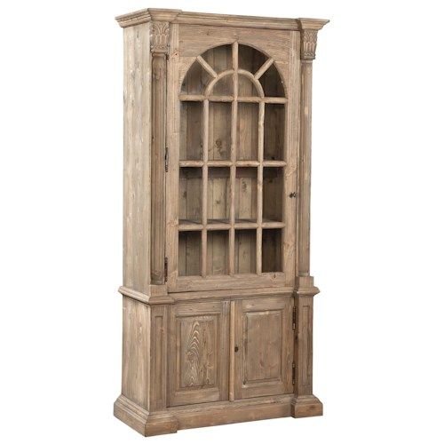 Furniture Classics Accents Arched Glass Door Solid Pine Bookcase