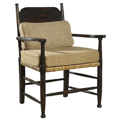 Furniture Classics Accents Chatham Chair with Rush Seat, Seat Cushion, & Lumbar Cushion