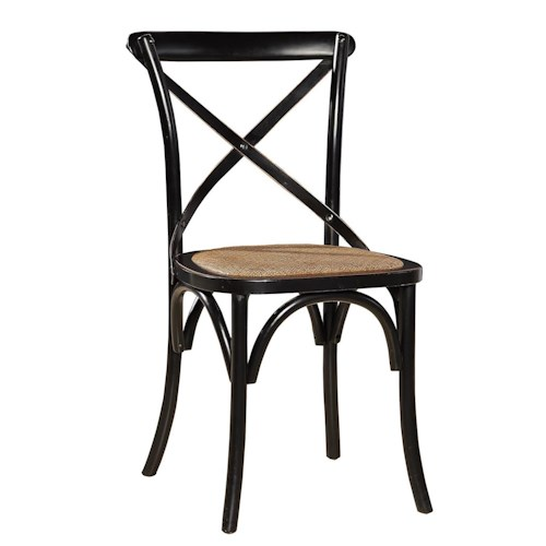 Furniture Classics Accents Black Dining Side Chair with X-Back and Rattan Seat