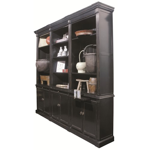 Furniture Classics Accents Grand Bookcase with 6 Doors, 3 Pull-Out Shelves and 9 Adjustable Shelves
