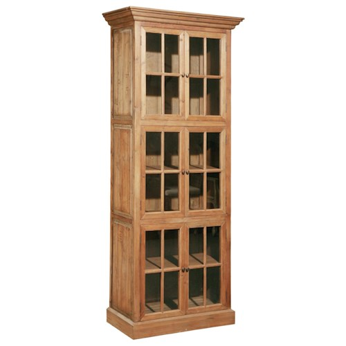 Furniture Classics Accents Solid Fir Single Stack Bookcase with Window Pane Glass Doors