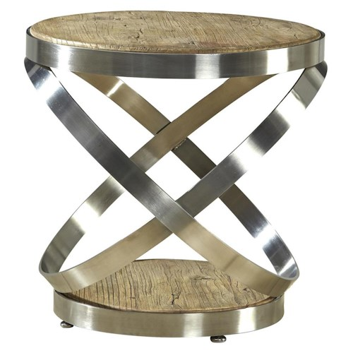 Furniture Classics Accents Contemporary Metal and Reclaimed Wood Axis End Table