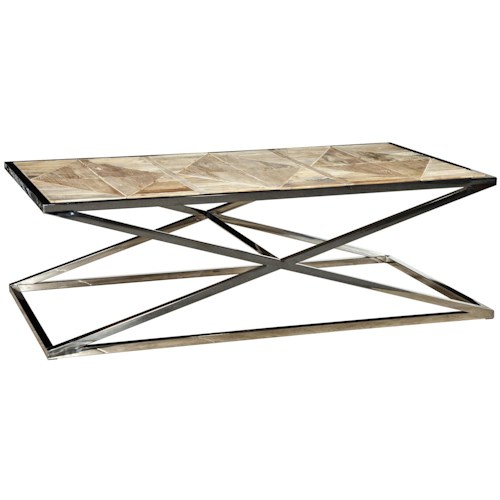 Furniture Classics Accents Stainless Steel Cross Coffee Table with Wood Top