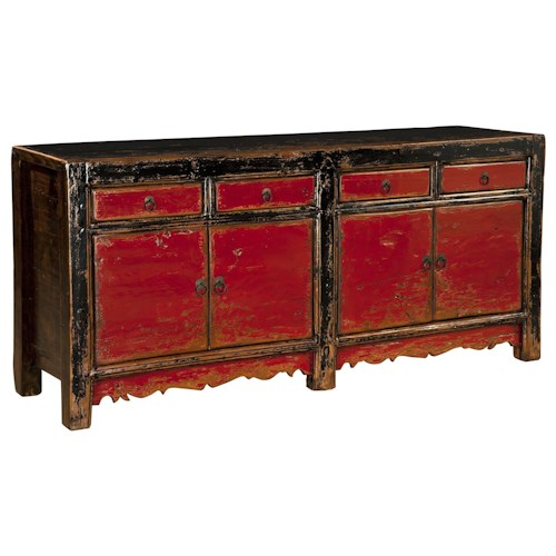 Furniture Classics Accents Distressed Red and Black Paint Sideboard