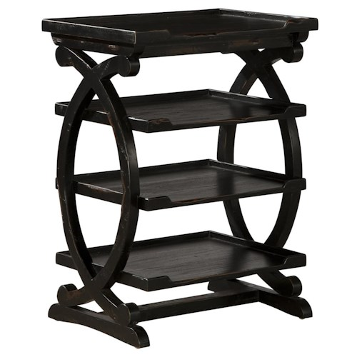 Furniture Classics Accents Dark Finish Four Tiered Table with Scroll Side Detail