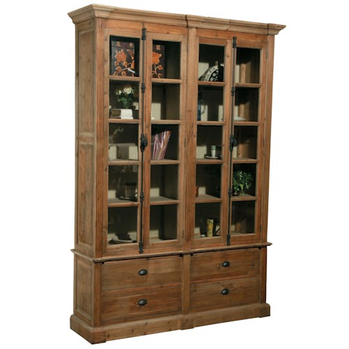 Furniture Classics Accents Natural Old Pine Bookcase with 4 Doors and 4 Drawers