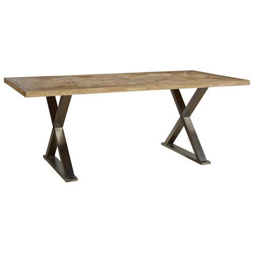 Furniture Classics Accents Stainless Crossleg Desk with Elm Parquet Table Top