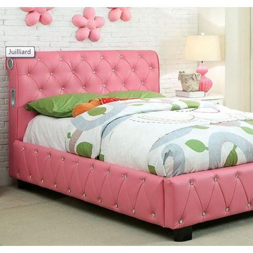 Furniture of America / Import Direct Julliard Collection Upholstered Twin Bed w/ Bluetooth Speakers