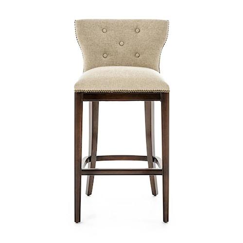 Furniture Origins Barstools Transitional Bar Stool with Nailheads and Burnished Walnut Finish