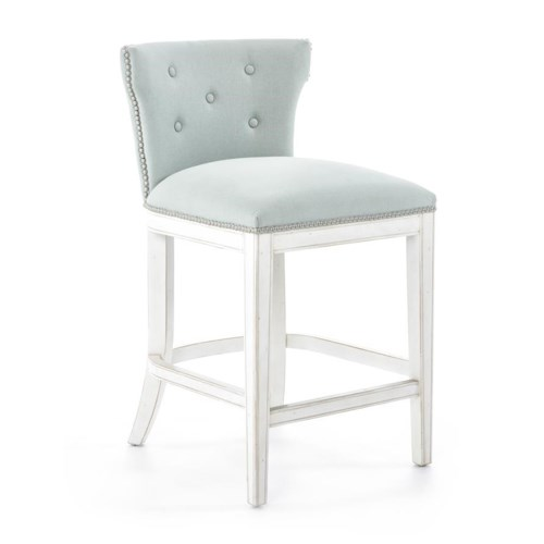 Furniture Origins Barstools Transitional Counter Stool with Nailheads and White Finish