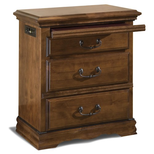 Furniture Traditions Alder Hill 3-Drawer Night Stand with Pull-Out Tray