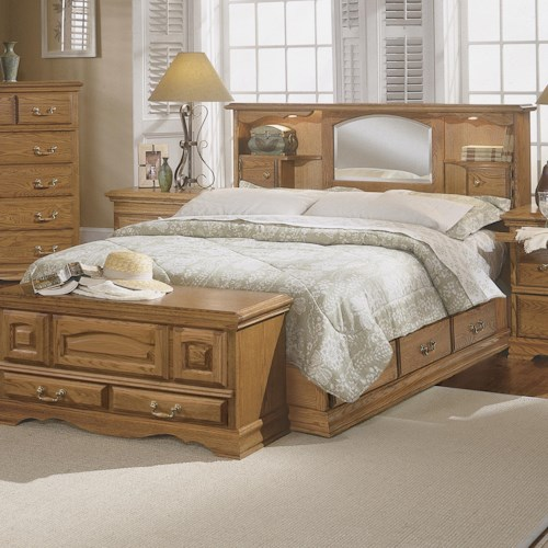 Furniture Traditions Master-Piece Queen Bookcase Headboard with underbed drawer pedestal.