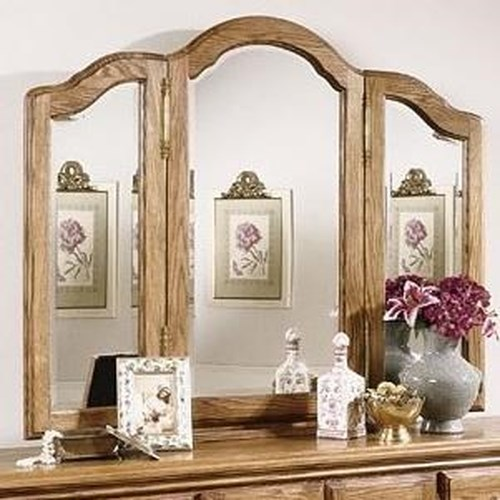 Furniture Traditions Master-Piece Treasures Wing Mirror with Velvet Lined Jewlery Storage