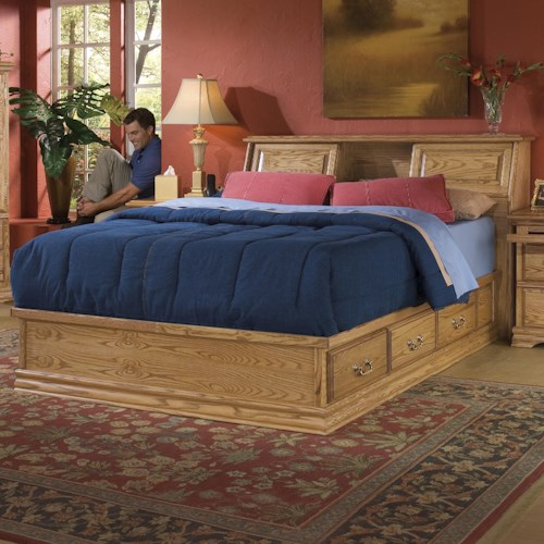 Furniture Traditions Master-Piece King Bookcase Bed with Master-piece Pedestal