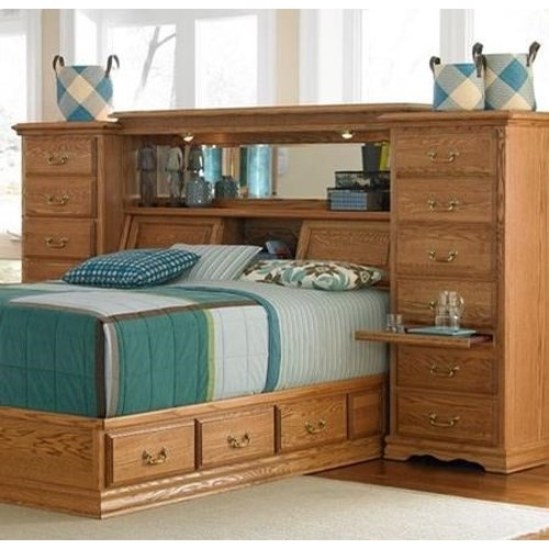 Furniture Traditions Master-Piece King/Cal King Mid-Wall Group with Storage