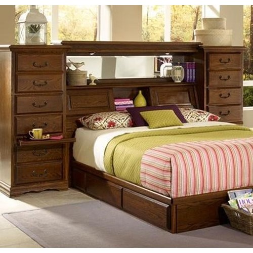 Furniture Traditions Master-Piece Queen/Full Mid-Wall Group with Storage