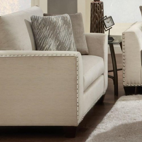 Fusion Furniture 1460 Chair and a Half with Flared Arms and Nailhead Trim