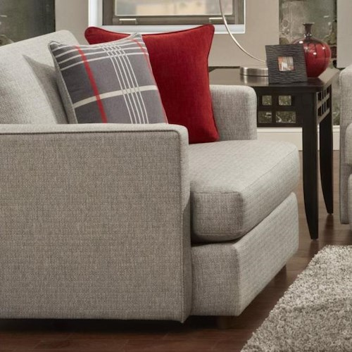 Fusion Furniture 1800 Contemporary Chair and 1/2 with Pillow Arms and 2 Accent Pillows