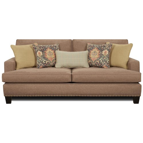 Fusion Furniture 2470 Contemporary Sofa with Track Arms and Nailhead Trim