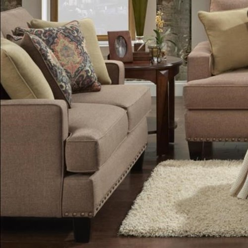 Fusion Furniture 2470 Contemporary Loveseat with Track Arms and Nailhead Trim
