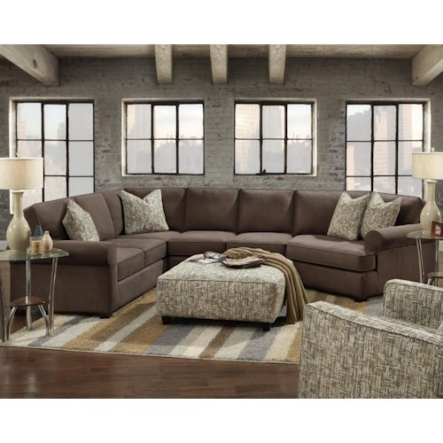 Fusion Furniture 2900 3-Piece Sectional with Right Cuddler