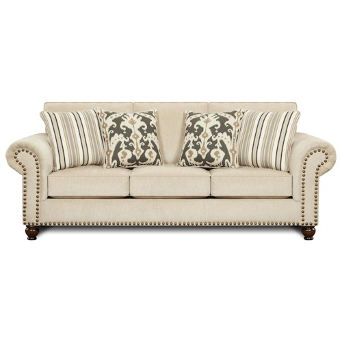 Fusion Furniture Fairleigh Transitional Sofa with Nailhead Trim