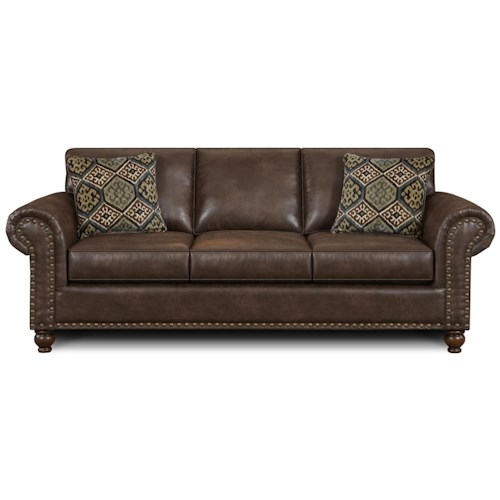 Fusion Furniture 3120 Traditional Faux Leather Sofa with Rolled Arms