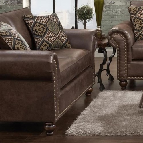 Fusion Furniture 3120 Traditional Faux Leather Loveseat