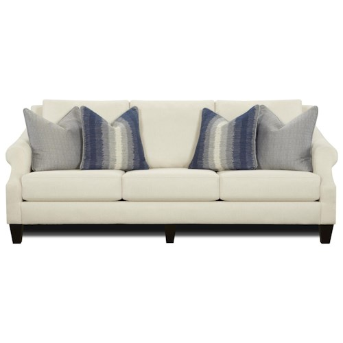 Fusion Furniture 3200 Sofa with Rolled Arms and Loose Back Cushions