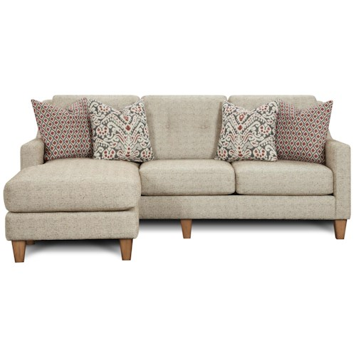 Fusion Furniture 3280 Contemporary Sofa Chaise with Track Arms