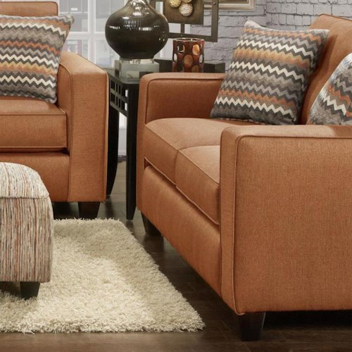Fusion Furniture 3560B Contemporary Loveseat with Track Arms and Button Tufted Cushions