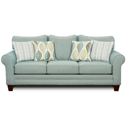 Fusion Furniture Candy Stationary Sofa with Accent Pillows