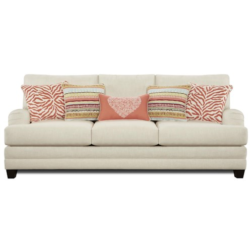 Fusion Furniture 4400 Transitional Sofa with English Arms and Loose Cushions