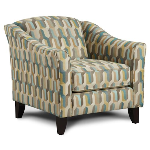 Fusion Furniture 452 Contemporary Accent Chair with Tapered Legs