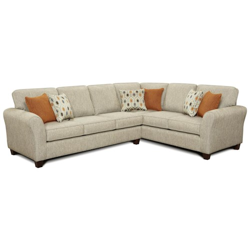 Fusion Furniture 4800  Contemporary Flared Arm Sectional Sofa