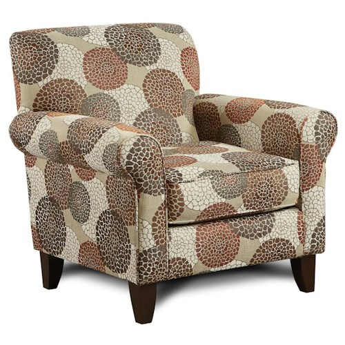 Fusion Furniture 502 Chrysanthmum Umber Accent Chair