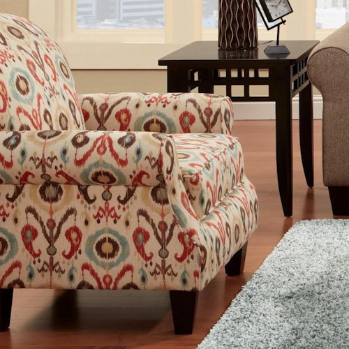 Fusion Furniture 532 Accent Chair with Rolled Arms