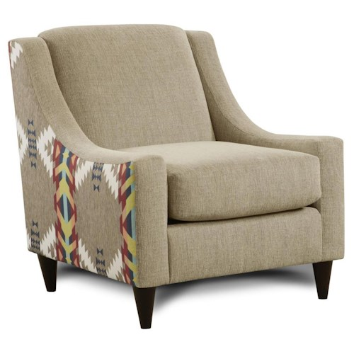 Fusion Furniture 542 Upholstered Accent Chair with Accent Fabric on Sides & Low Profile Arms