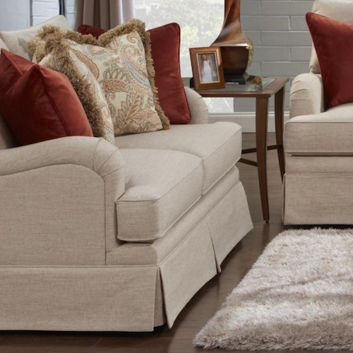 Fusion Furniture 6000 Traditional Loveseat with English Arms and Skirt Base