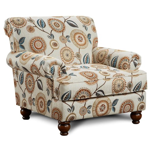 Fusion Furniture 622 Traditional Accent Chair with Rolled Arms and Rolled Back Detail