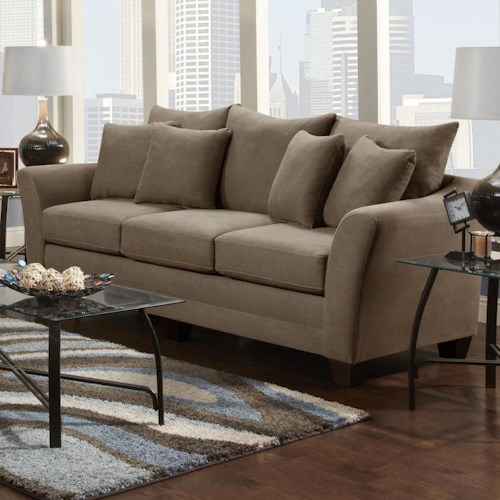 Fusion Furniture Urban Rider Contemporary Sofa with Flared Arms and Loose Back Cushions