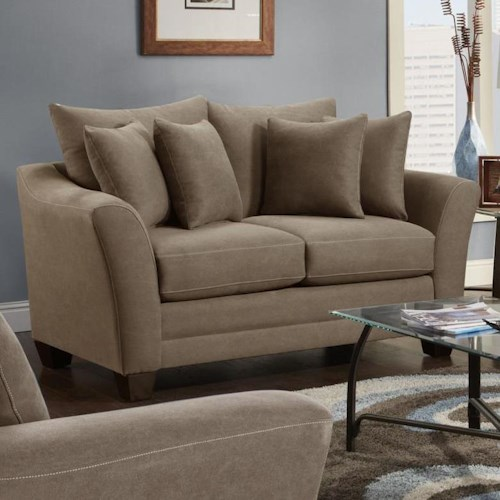 Fusion Furniture Urban Rider Contemporary Loveseat with Flared Arms and Loose Back Cushions