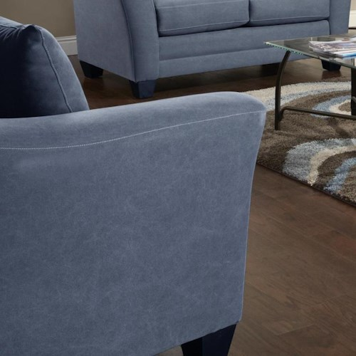 Fusion Furniture Urban Rider Contemporary Chair and 1/2 with Flared Arms and Loose Back Cushion